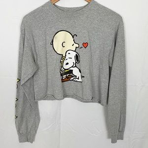 PEANUTS Long Sleeve Crop Top with Charlie Snoopy
